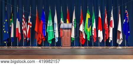 Stands For A Conference Of G20  On A Blue Background 3d Illustration