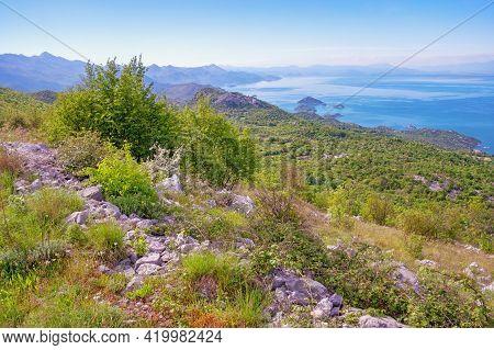 Beautiful Sunny Spring  Landscape In Mountains, Coast Of Lake.   Montenegro. National Park Lake Skad