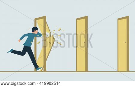 Vector Illustration Of A Running Man Who Destroys Closed Doors On His Way. The Metaphor Of Overcomin