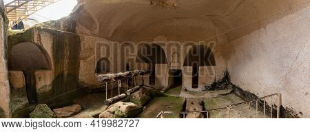 The Inner Hall Of The Oil Press On The Excavations Of The Ancient Maresha City In Beit Guvrin, Near