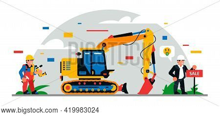 Construction Equipment And Workers At The Site. Building For Sale. Colorful Background Of Geometric