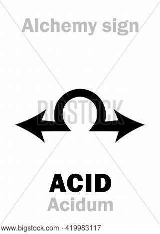 Alchemy Alphabet: Acid (acidum), Acidic Substance, Corrosive Sour-tasting Liquid, Neutralizes Alkali
