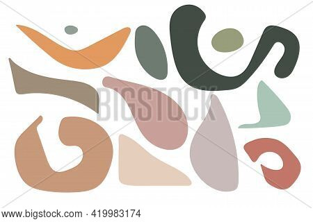 Abstract Geometrical Shape Set. Hand Drawn Various Shapes. Modern Illustration In Vector. For Wall A