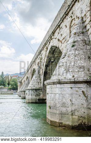 Visegrad, Bosnia, August 16, -  Bosnia And Herzegovina, 2014: The Old Bridge Of Mehmed-pasa Sokolovi
