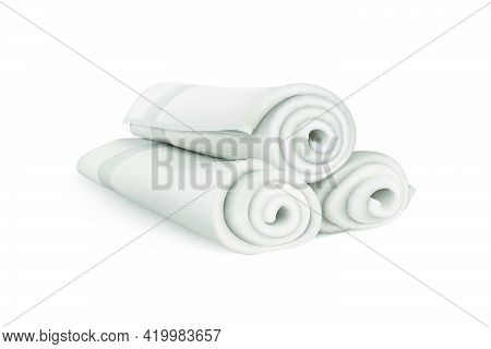 Three Terry Towels, Rolled Into Tubes. 3d Vector Illustration