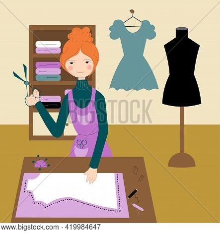 Seamstress Cutting A Dress In An Atelier