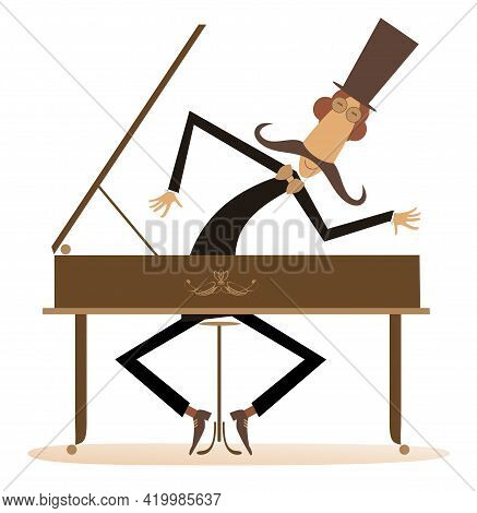 Cartoon Long Mustache Pianist Illustration.  Long Mustache Pianist Or Composer In The Top Hat Plays