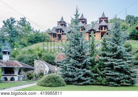 Visegrad, Bosnia, August 16, -  Bosnia And Herzegovina, 2014: Shargan Eight. Museum-tourist Complex