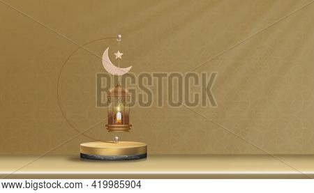 3d Podium With Traditional Islamic Lantern, Candle, Pink Gold Crescent Moon And Star Hanging On Gold