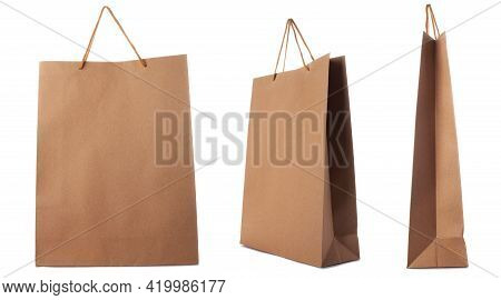 Brown Paper Bag Isolated On White Background. Side, Front, Three-quarter View.
