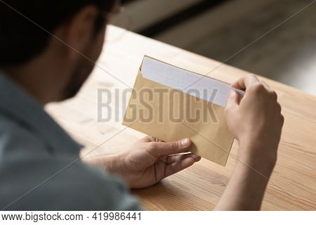Close Up Businessman Opening Envelope With Letter, Working With Correspondence