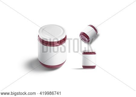 Blank Glass Jar With Berry Jam Mockup, Diferent Views, 3d Rendering. Empty Preserve Can With Fruit P