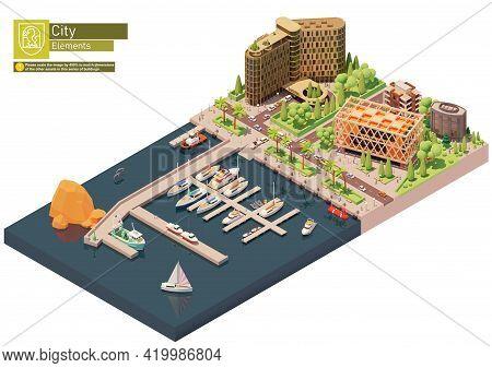 Vector Isometric Marina, Sailboats And Yacht Harbor