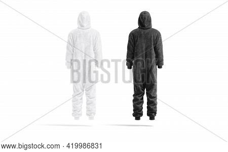 Blank Black And White Plush Jumpsuit Mockup, Back View, 3d Rendering. Empty Velour Or Textile Warm L