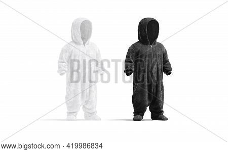 Blank Black And White Kid Plush Jumpsuit With Hood Mockup, 3d Rendering. Empty Baby Bodysuit For Bed