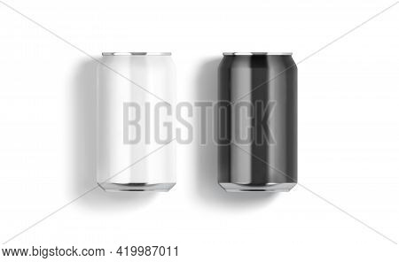 Blank Black And White Aluminum 330 Ml Soda Can Mockup, Isolated, 3d Rendering. Empty Soft Beverage M
