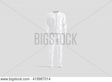 Blank White Sport Tracksuit With Bomber, Pants And Sneakers Mockup, Gray Background, 3d Rendering. E