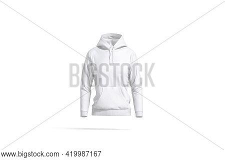 Blank White Women Sport Hoodie Mockup, Front View, 3d Rendering. Empty Fleece Sweatshirt With Hood M