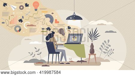Productive Work Flow And Efficient Job Tasks Planning Scene Tiny Person Concept. Process Management
