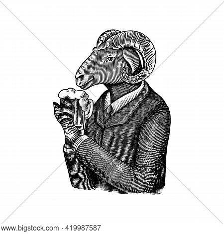 Sheep Character. Ovis Or Mutton With Beer. Fashionable Animal, Vitorian Gentleman In A Jacket. Hand
