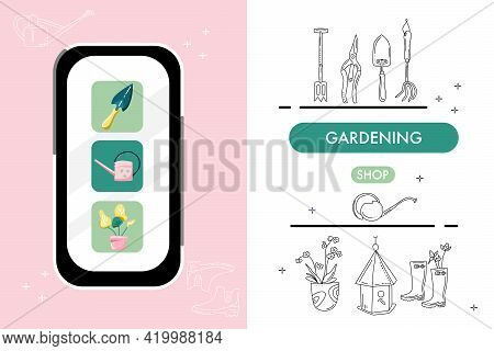 Smartphone With Online Gardening Shop.store Website.catalog Of Tools For Planting And Seedling In Do