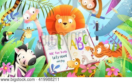 African Animals In Jungle Reading Abc Book And Learning To Write. Forest Animals Literature And Educ