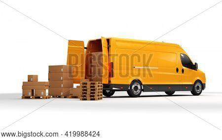 Parcel delivery in van transportation truck on white. Transport, shipping industry. 3D illustration