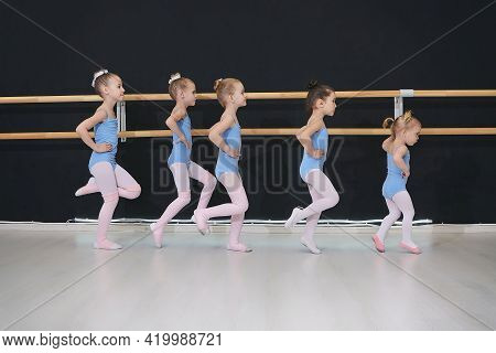 Little Girls In The Dance Hall At A Rehearsal.