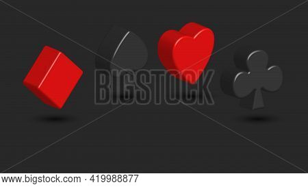 Suits Of Playing Cards 3d Creative Shapes On A Dark Background, Spades, Diamonds, Hearts, Cross Symb