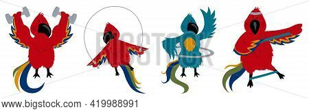 Funny Macaw Parakeets Doing Sports. Set Of Sports Parrots.