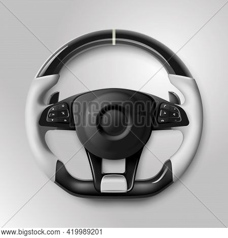 Expensive Black And White Car Rudder With Buttons And Leather Braiding