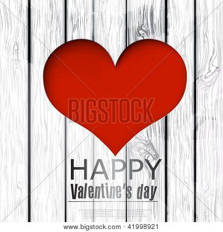 Vektor-Loch in Herzform auf Holz Textur. Happy Valentine's Day. Vektor-Hintergrund