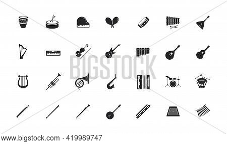 Icon Set Of Musical Instruments. Drum Section, Wind Instruments, Strings, Percussion.