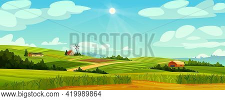 Green Fields Landscape Of Farmland, Barns And Farms, Rural Houses And Windmills. Vector Pasture With
