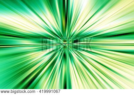Abstract Radial Zoom Blur Surface Turquoise, Green And Yellow Tones. Abstract Juicy Green Background