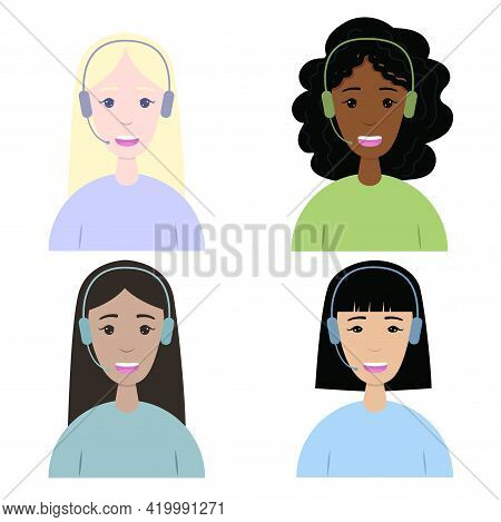 Girls From The Support Service Of Different Nationalities. Women In A Call Center With Headphones An