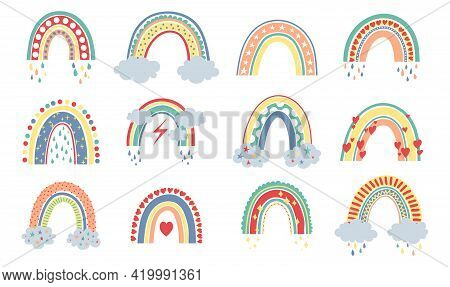 Scandinavian Rainbow. Cartoon Rainbows With Clouds, Flowers And Stars In Pastel Colors. Modern Baby,