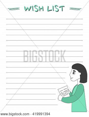 Wish List. A Template For Filling In Wishes, Goals, And Gifts For The Holidays. Vector Design.