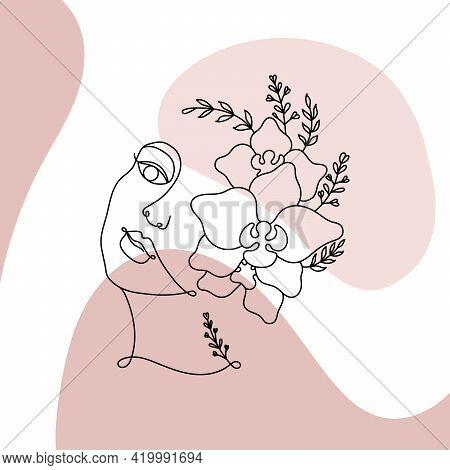 Womens Faces In One Line Art Style With Flowers And Leaves. Continuous Line Female Portrait In Profi