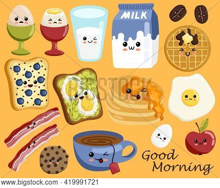 Set Of Cute Breakfast Food Icons In Kawaii Style. Milk Bottle, Tea Cup, Cheese With Cute Smiling Fac