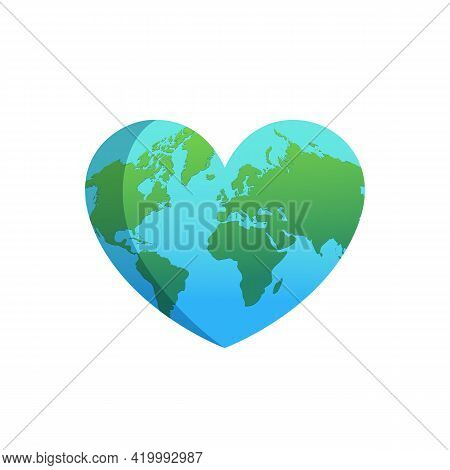 Heart With White World Map Isolated On White Background. World Health Day Concept.  Happy Earth Day.