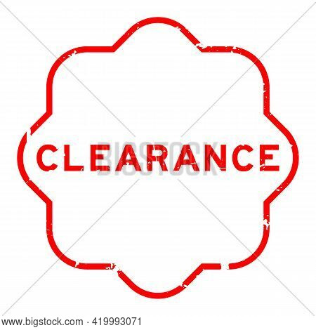 Grunge Red Clearance Word Rubber Seal Stamp On White Background