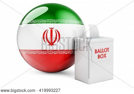 Ballot Box With Iranian Flag. Election In Iran. 3d Rendering Isolated On White Background