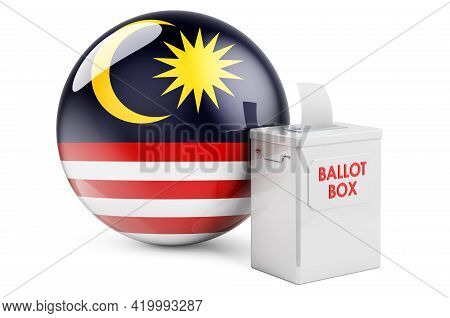 Ballot Box With Malaysian Flag. Election In Malaysia. 3d Rendering Isolated On White Background