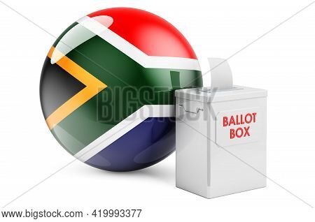 Ballot Box With South African Flag. Election In South Africa. 3d Rendering Isolated On White Backgro