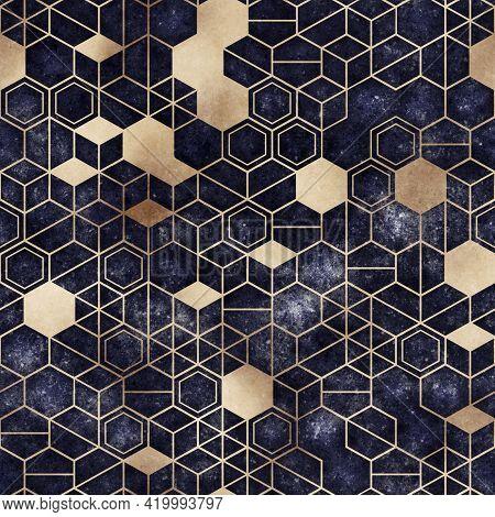 Seamless Grungy Hexagon Pattern Isometric Geometry Net Print