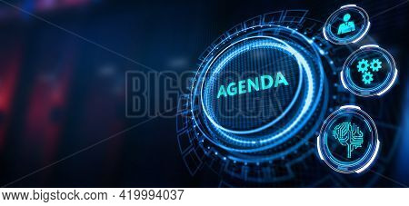 Business, Technology, Internet And Network Concept.  Word Agenda On Virtual Screen.3d Illustration
