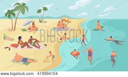 People On Beach Or Seashore Relaxing, Swimming And Sunbathing, Summertime Activities Flat Cartoon Ve