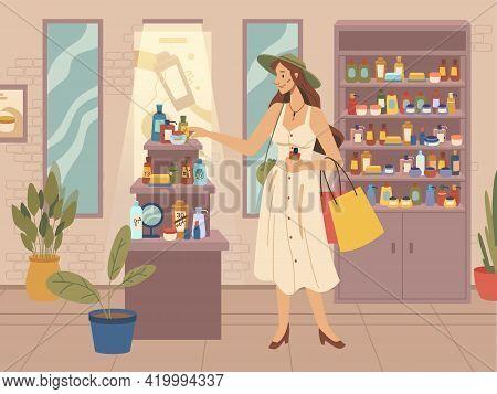 Beauty Shop, Fashion Woman Choosing Cosmetics, Flat Cartoon Vector. Female Character Chooses Beauty