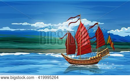 Landscape With Traditional Asian Chinese Junk Ship Made Of Wood With Red And Orange Sails And Blue S